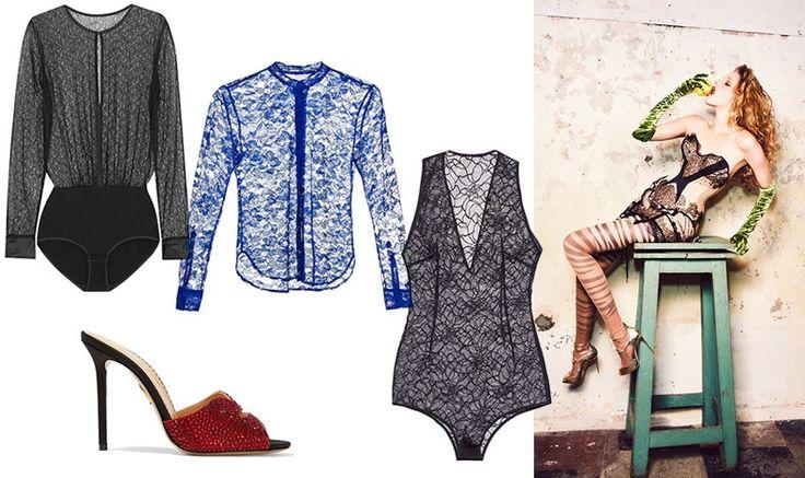 Lingerie, ERES // Light blue transparency, Christopher Kane // Shoe, Charlotte Olympia // Lace, La Mania // Alisa Ahmann, Vogue Ukraine, February 2016