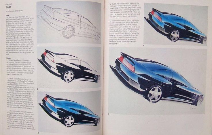 "#Renault exterior design VP Anthony Lo's 'How To Render a Coupe' tutorial from Dick Powell's ""Presentation Techniques"" book (1990)"