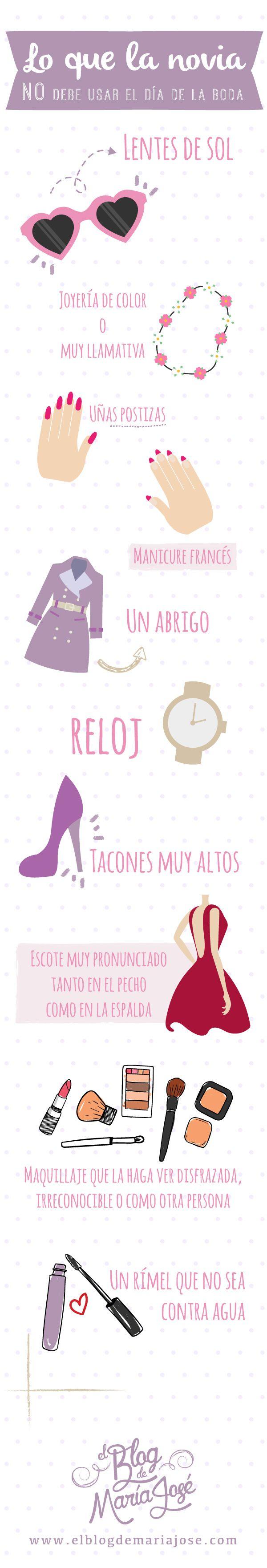 Lo que la novia no debe usar en la boda #Bodas #ElBlogdeMaríaJosé #LookNovia