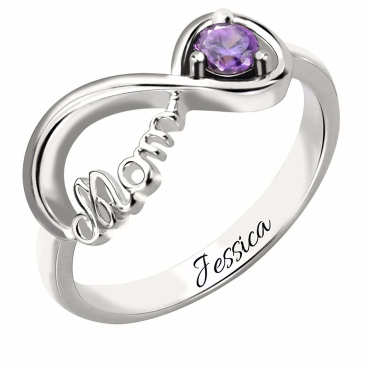 One Birthstone Infinity Mothers Silver Ring