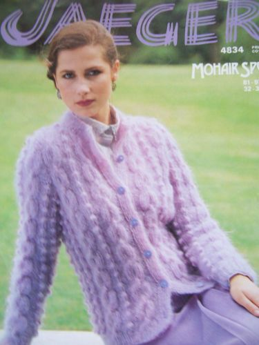 Knitting-Pattern-Jaeger-4834-Ladies-Cable-Cardigan-Jacket-Mohair-Spun-32-38