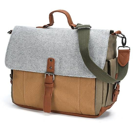Canvas Messenger Bag with Laptop Pouch