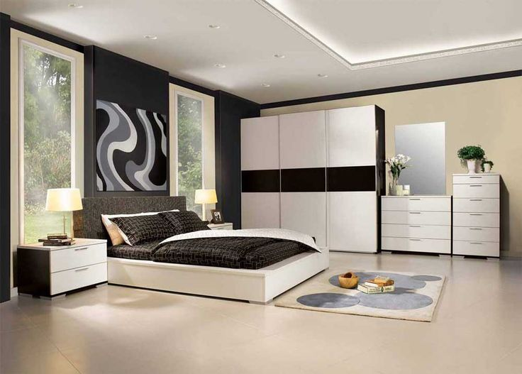 Interior Design Ideas for Bedroom with great two tone finished wardrobe beside chest of drawers and wooden chiffonier moreover king size white polished