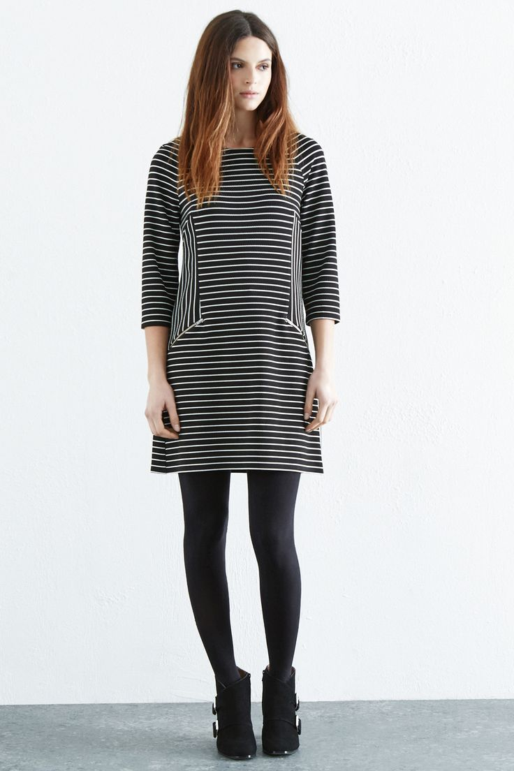 All | Black TEXTURED STRIPE SHIFT DRESS | Warehouse