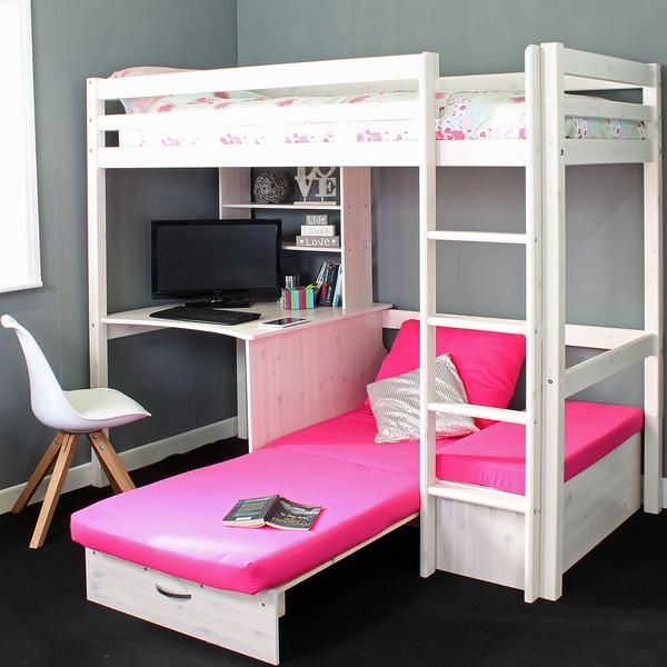 Thuka Hit 7 High Sleeper Bed With Sofa Bed Desk Family Window In 2020 Girls Loft Bed Bed For Girls Room Bunk Beds For Girls Room