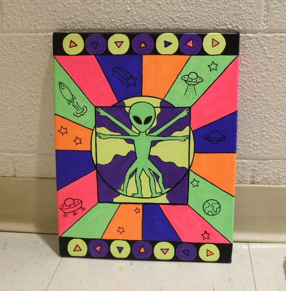 Trippy neon alien painting by MVcanvases on Etsy