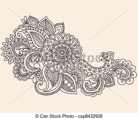 white ink on the top of a hand // Henna Mehndi Tattoo Doodles Vector - csp8432928