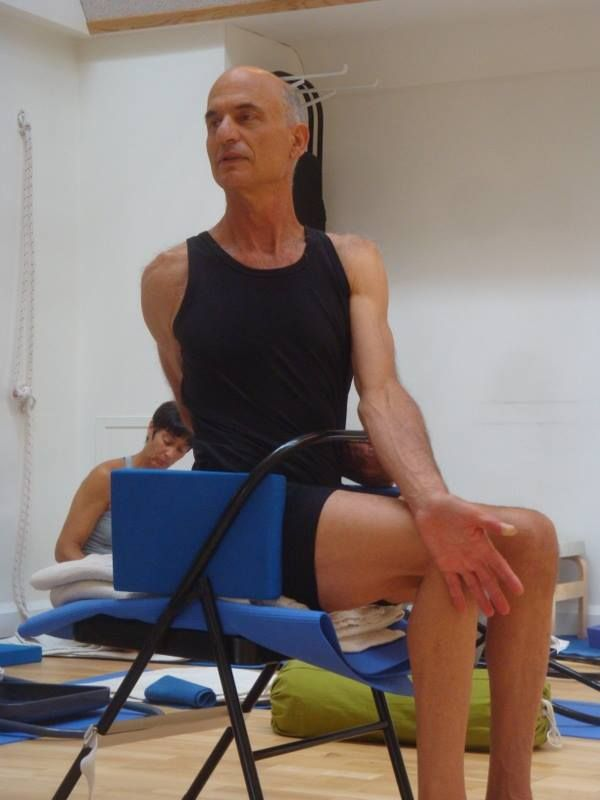 11 best iyengar yoga chair twists images on pinterest for Chaise yoga iyengar
