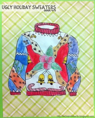 Ugly holiday sweater project. Perfect for those last few days before Christmas holidays and all the interruptions for concerts, etc.