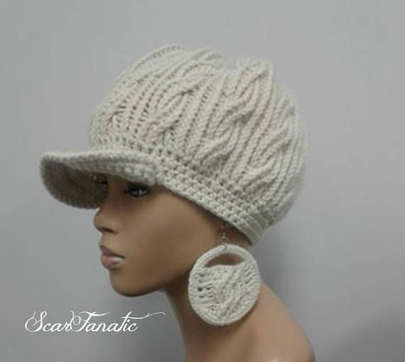 MADE TO ORDER Cream  Ecru  Ivory  Off White hand knit cabled Newsboy Hat  Slouchy  beanie w brim and wooden button  free crochet earrings 8c4ec2ae4cc7