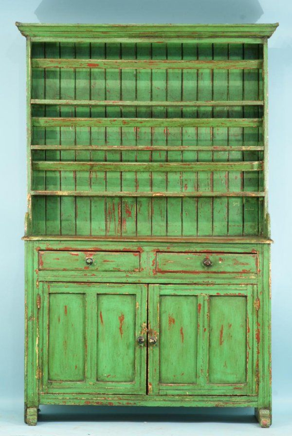 19th centuryIrish dresser with green distressed finish. Originally these would be painted in bright or drab colo urs, often semi gloss