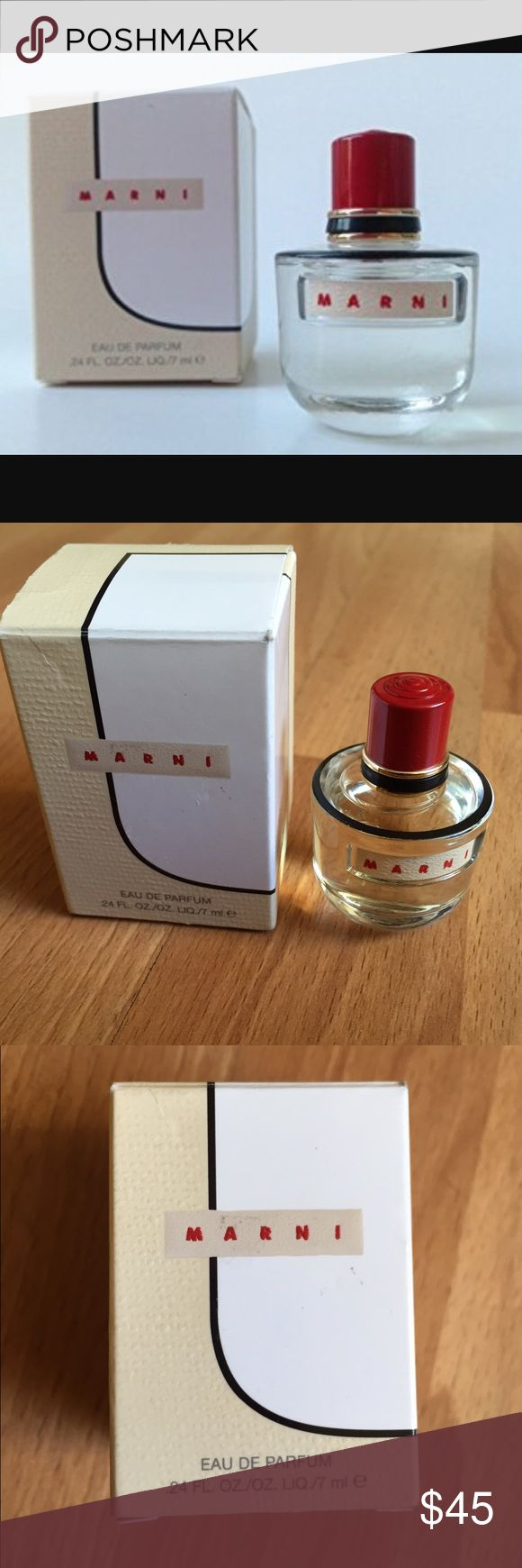 NIB Marni .24 ounce mini eau de parfume NIB Marni Eau De Parfum Deluxe Miniature 0.24 Oz / 7 Ml Great for purse or travel!   Just like Consuelo Castiglioni, as a designer, plays with classic elements, getting unexpected results through a subtle edit of proportions, colors, prints and materials, so the fragrance plays with classic elements in unexpected ways. It combines ethereal spices, eclectic raw woods, and a touch of rose to create a statement that is both elusive and uniquely memorable…
