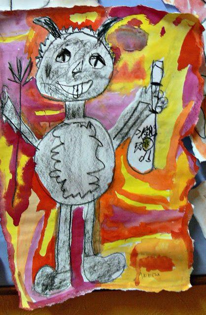 Tvoříme s dětmi ☺: Prvňáčci se čertů nebojí...(kresba uhlem, pozadí vodovkami)