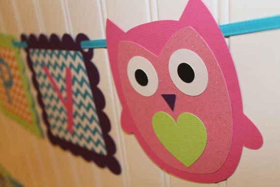 Rainbow Chevron Owl Happy Birthday Party by mycutiepieboutique, $19.00