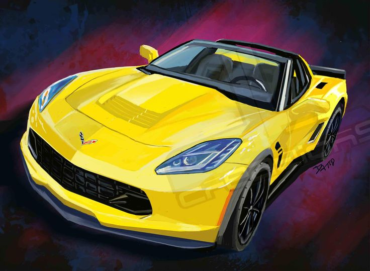 yellow Corvette c7