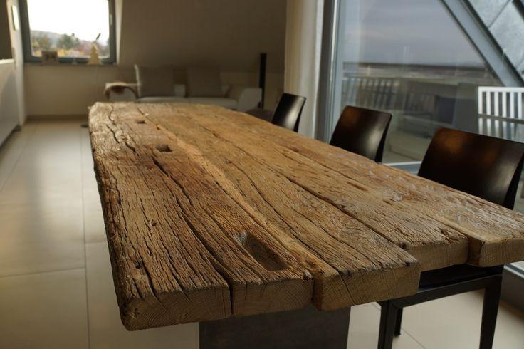 Zwinz Tisch Altholz Eiche massiv Zapfenloch bank für das