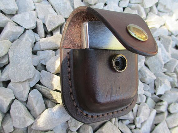 Hand made Leather belt Pouch / case for Zippo lighter.