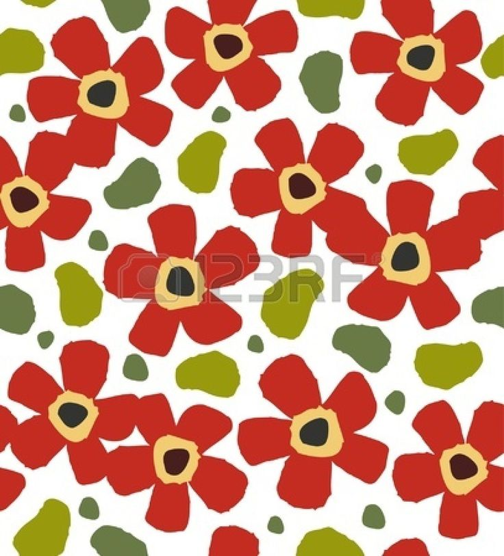 Fiori rossi infantile su sfondo bianco. Floreale elegante, motivo, vernice. Modello di Doodle per la progettazione e la decorazione Archivio Fotografico