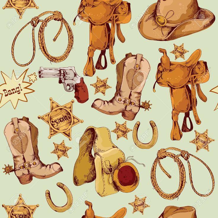 Wild West Cowboy Mano Colorato Disegnato Senza Soluzione Di Modello Con Cavallo Laccio Illustrazione Vettoriale Sella Clipart Royalty-free, Vettori E Illustrator Stock. Image 28799243.