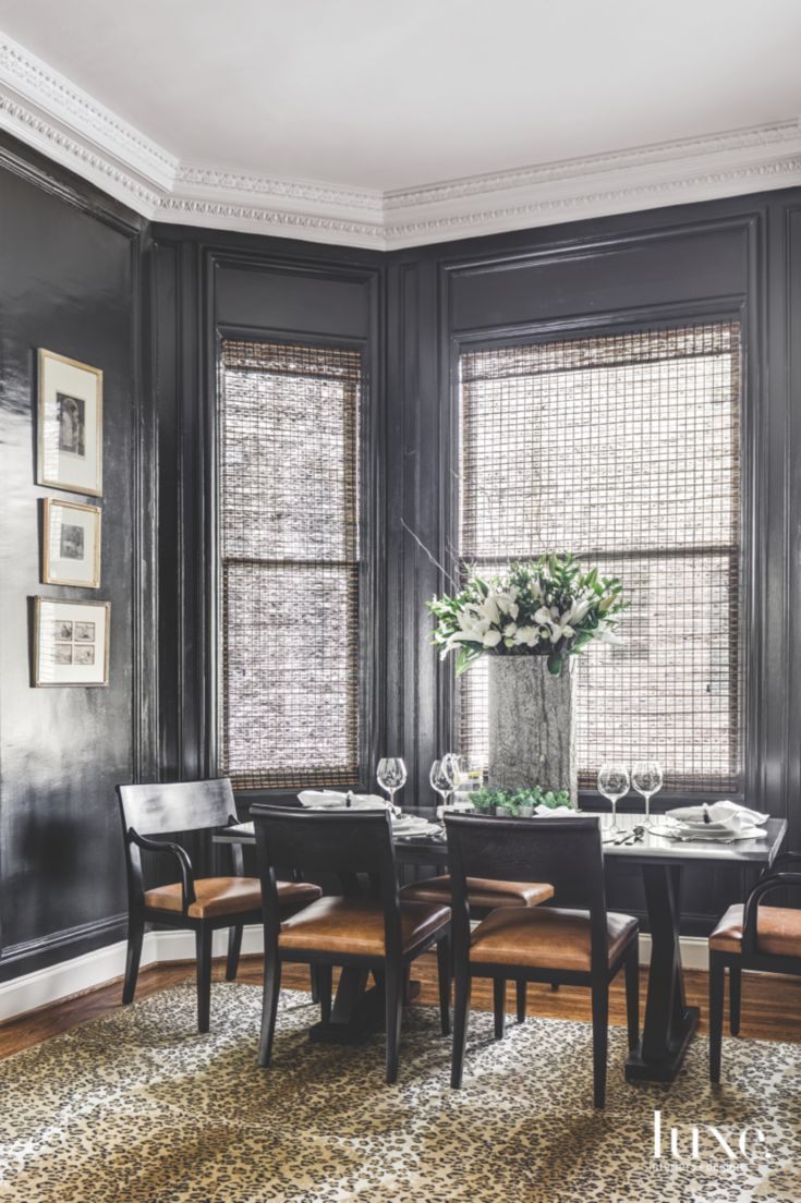 The Leopard Rug in This Black-Walled San Francisco Dining Room Proves Animal…