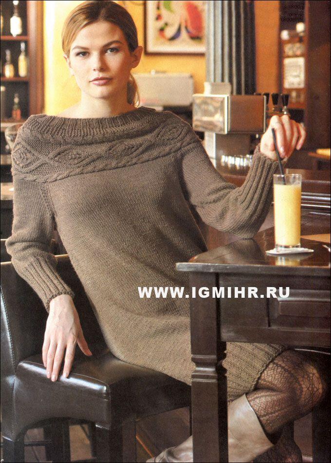 Теплое платье цвета капучино с красивой кокеткой, связанной поперек. Спицы