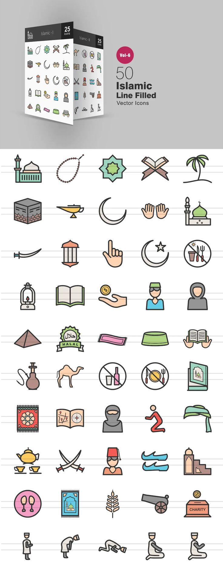 50 Islamic Filled Line Icons AI, EPS di 2020 Desain