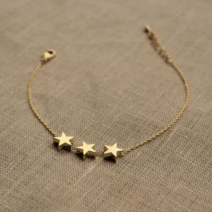 delicate gold three star bracelet by little nell | notonthehighstreet.com