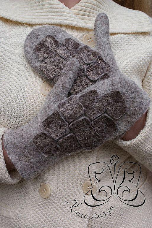 """Купить Варежки """"За каменной стеной"""" - варежки валяные, варежки, шерсть, вискоза волокна"""