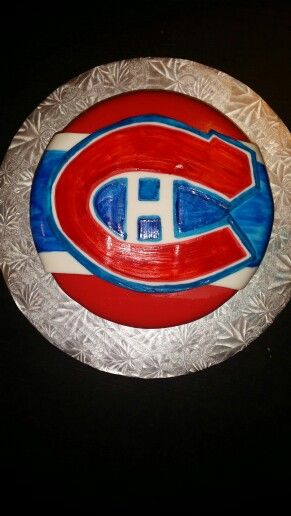 Montreal Canadians cake. Designed and created by Ashley Landry @ Spencer's Sweet Eats.