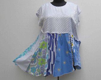 Blue upcycled dress, plus size dress, blue dress, refashioned dress, 3XL deconstructed dress, boho dress, festival dress, asymmetrical dress