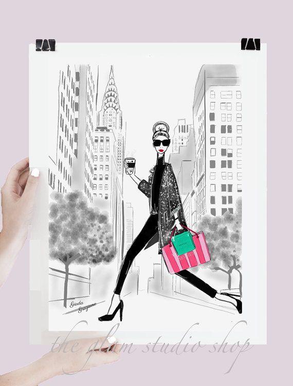 Fashion Illustration New York Shopping Gift Idea Fashionista Tiffany Victoria's Secret Art Print Home deco Room Decor Idea regalo per lei