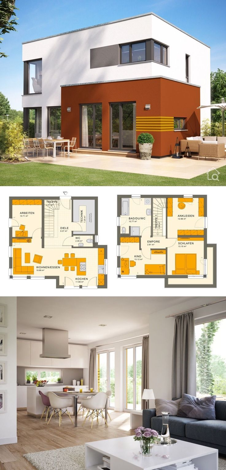 Fertighaus modern mit Flachdach Architektur im Bauhausstil
