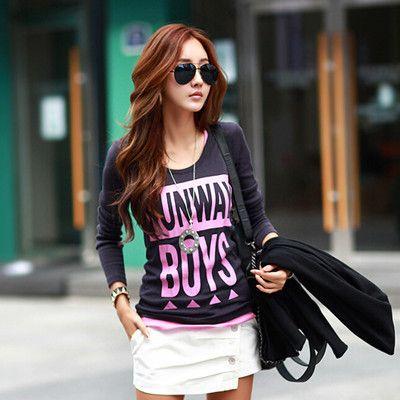Damen top -Tshirt-Camisetas Letter T Shirt Women Cotton Tee Shirt Femme Womens Tops