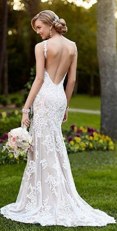 Gorgeous backless spaghetti straps wedding dress, perfect for a beach or garden wedding. More at http://www.cutedresses.co/product/spaghetti-straps-bridal-gown-garden-wedding-beach-style/