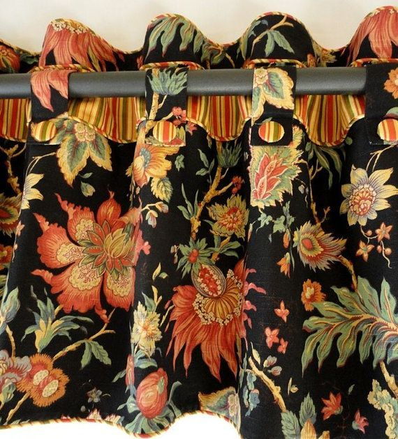 Tab Valance with contrast band and buttons on a decorative rod.