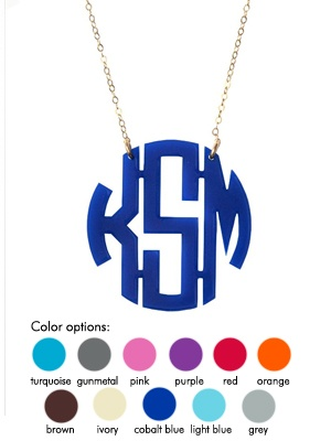 Acrylic Monogram Necklace from Moon and Lola