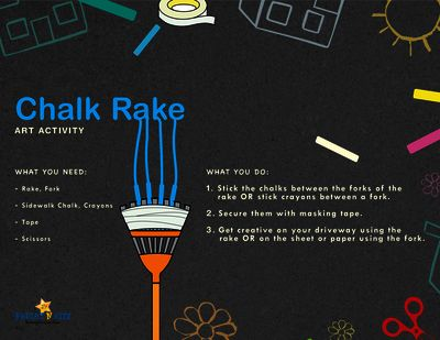 Chalk Rake, art activity from BrightNRite from BrightNRite on TeachersNotebook.com (1 page)  - Get creative with a rake or fork, have fun while building on gross motor skills through this chalk art activity.