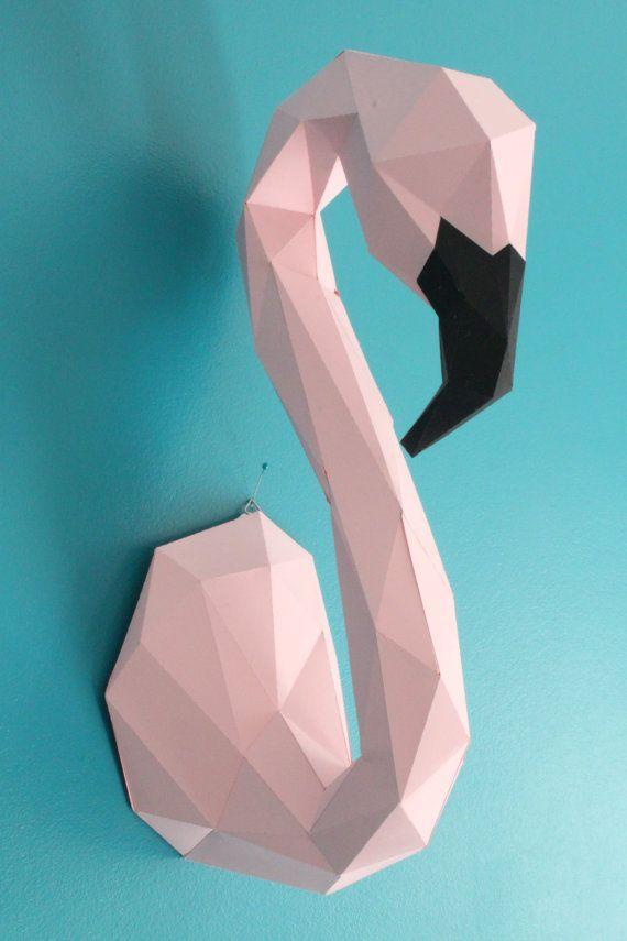 Flamant Trophée Animal  KIT DIY en Papier