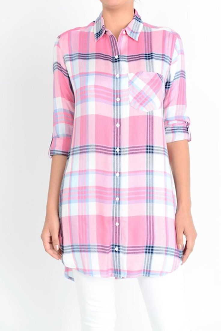 Coral plaid shirt dress is perfect paired alone or with leggings. Pair with your favorite sandals or wedges to complete the look.   Coral Shirt Dress by Sneak Peek. Clothing - Tops - Button Down Omaha, Nebraska
