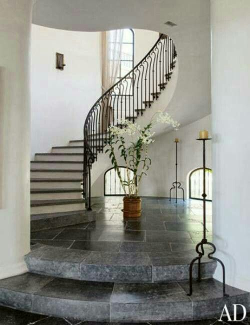Gisele Bundchen And Tom Bradyu0027s House In Los Angeles Online Exclusive    Staircase The Main Staircase Leads Upstairs From The  Antique Bluestone Paved Entry.
