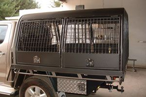 Custom built dog crate made by Complete Weld in Mudgee, NSW, Australia.
