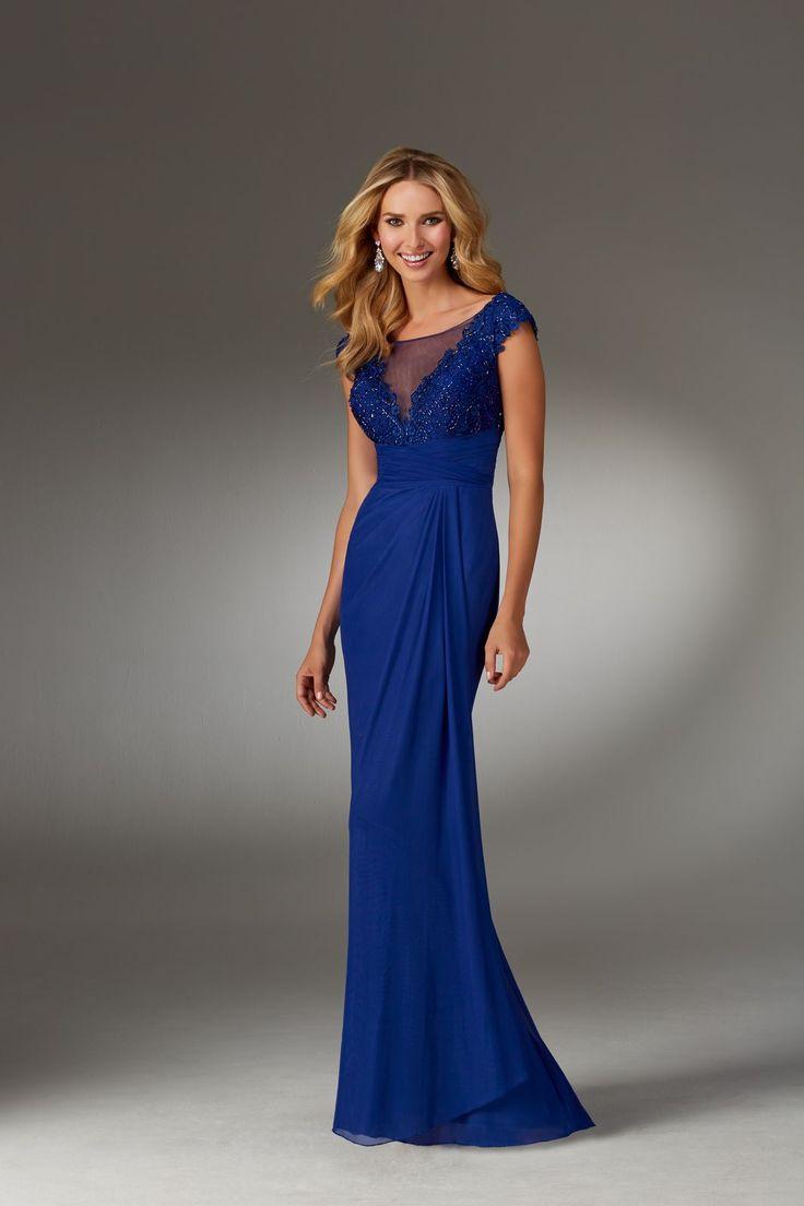 Wytworna suknia Mori Lee z iluzorycznym dekoltem, na krótki rękaw. Cudowny, koronkowy gorset z koralikami, typu V. Elegancji i klasy …