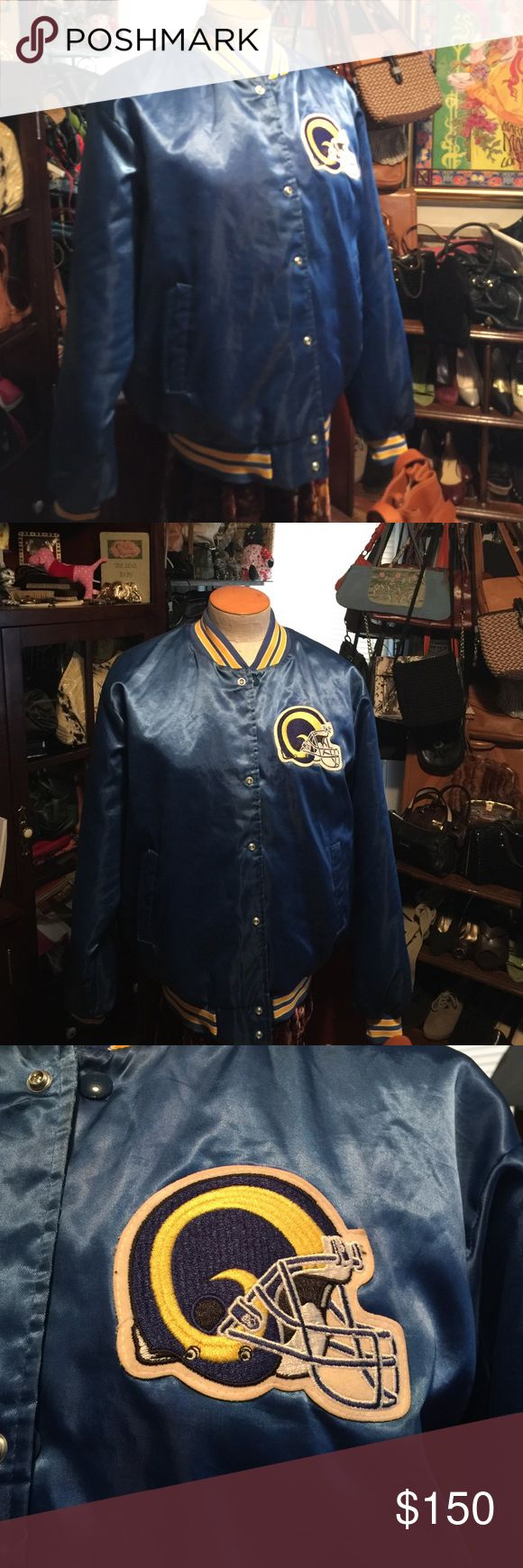 Amazing 80's vintage LA Rams satin jacket This is a vintage 80's LA Rams satin jacket made by Chalk Line. It is somewhat rare to find one of these in this condition from the original Rams team. After '94 the Rams moved to Saint Louis. 22 years later they went back to LA and began to play there again in 2016. This one is original and in excellent shape. No tears or snags. There is one light small stain on the lining but that's it. The tag and inside has yellowed slightly from age. Runs small…