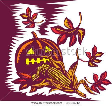 Halloween Jack o lantern Pumpkin corn and maple leaves retro style  #jackolantern #retro #illustration