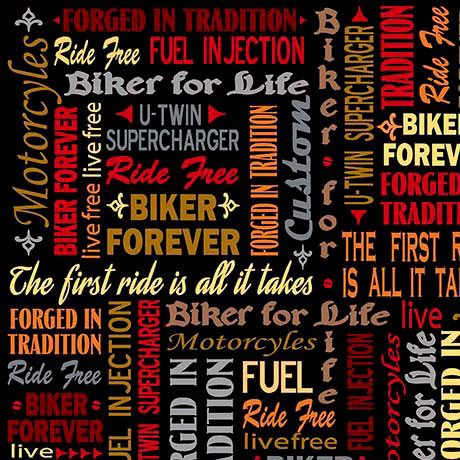 Biker For Life Fabric By The Yard Biker Lingo Words On Harley Davidson Fabric Quilting Treasures Fabric