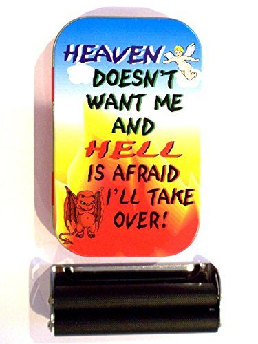 1oz hinged heaven don't want me hell is afraid i'll take over baccy tobacco tin rolling machine & papers  //Price: $ & FREE Shipping //     #Bathroom