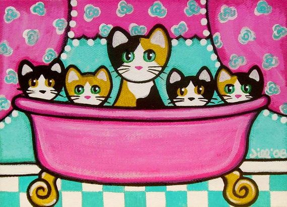 Calico CATS Kittens in Pink BATHTUB Folk Art PRINT from Original Painting by Jill