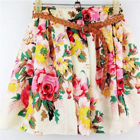 Short Summer Women Skirts With Belt Casual Cute Above Knee Mini Printed High Waist Chiffon Skirts