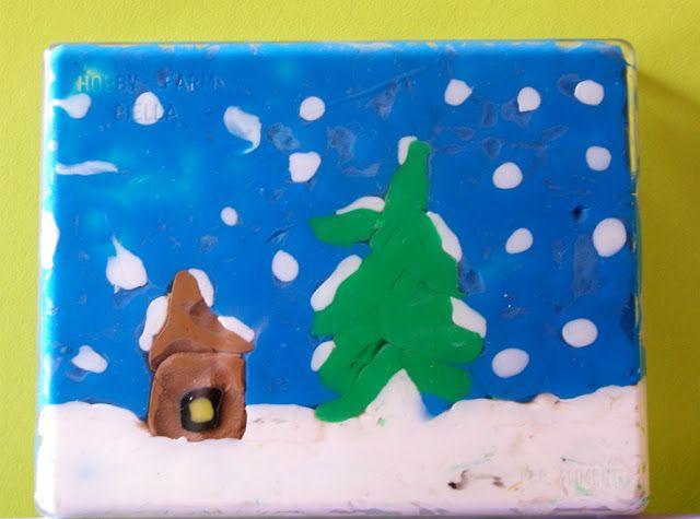 Artscuola: Decorare una scatola di plastica trasparente per un regalo natalizio