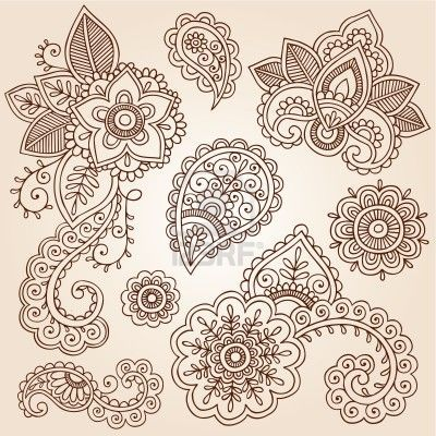 Henna Flowers and Paisley Mehndi Tattoo Doodles Set Stock Photo - 15939993